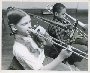 girl & boy playing trombone